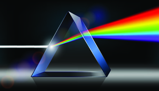 la lumière blanche se diffracte à travers un prisme