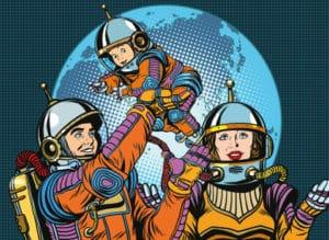 des parents scientifiques en cosmonaute jouent avec leur enfant