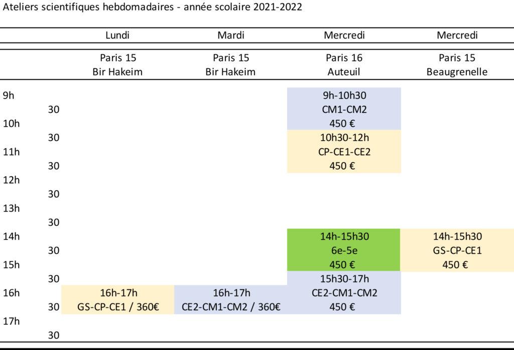 calendrier du club de sciences pour enfants 2021-2022